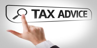 Tax Advice written in search bar on virtual screen leads to finding TaxAid
