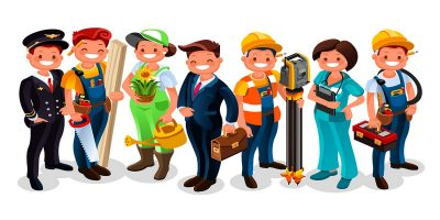 Different industry sectors represented by grinning workers in typical clothing of each job