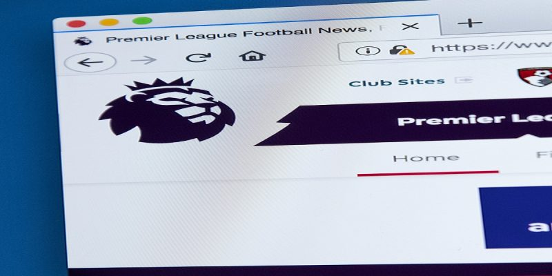 Top left corner of Premier League's homepage screen. Includes lion logo. Illustrating their large tax contribution to the UK economy.