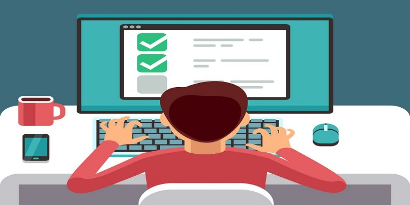 Illustration of a man doing a quiz online. To represent Which?'s new Great British Tax Quiz, leading to discussions about how important accessible tax information is.