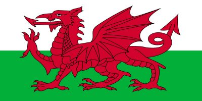 Welsh flag. Horizontally, top half white, bottom half green. Red dragon in the middle foreground.