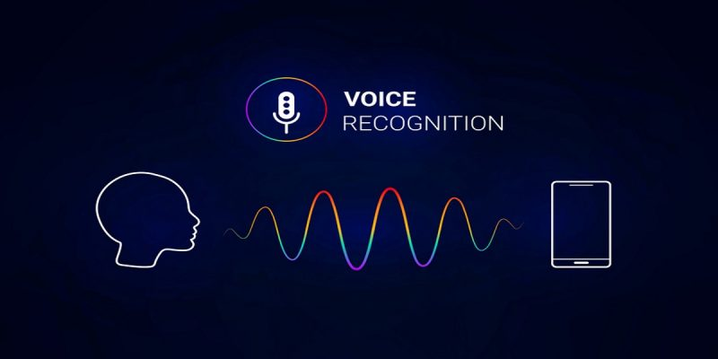 Black background. White microphone icon in a rainbow circle, top centre, the words VOICE RECOGNITION to the right hand side, in capital letter. Botoom left, white outline of a human head in profile facing right. Bottom right, white outline of a mobile phone. Head and phone connected by sound wave represented by a wavy line in rainbow colours.