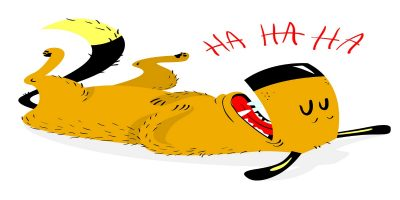 """Illustration of a dog rolling on his back laughing, """"ha ha"""" written above him."""