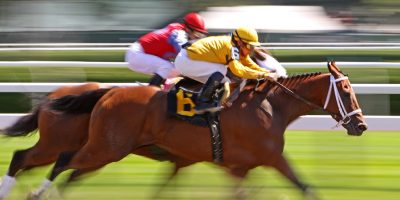Two brown race horses at full gallop, one in foreground, one slightly behind. Ridden by one jockey in red silks, the other in yellow. ot
