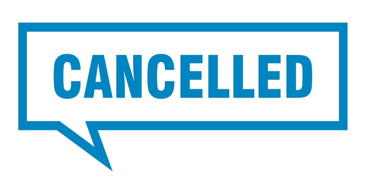 Blue square speech bubble containing the word cancelled in block capital letters, on a white background.