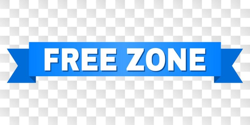 'Free zone' written in white block capital letters on a blue banner, centralised on a pale blue and white chequered background.