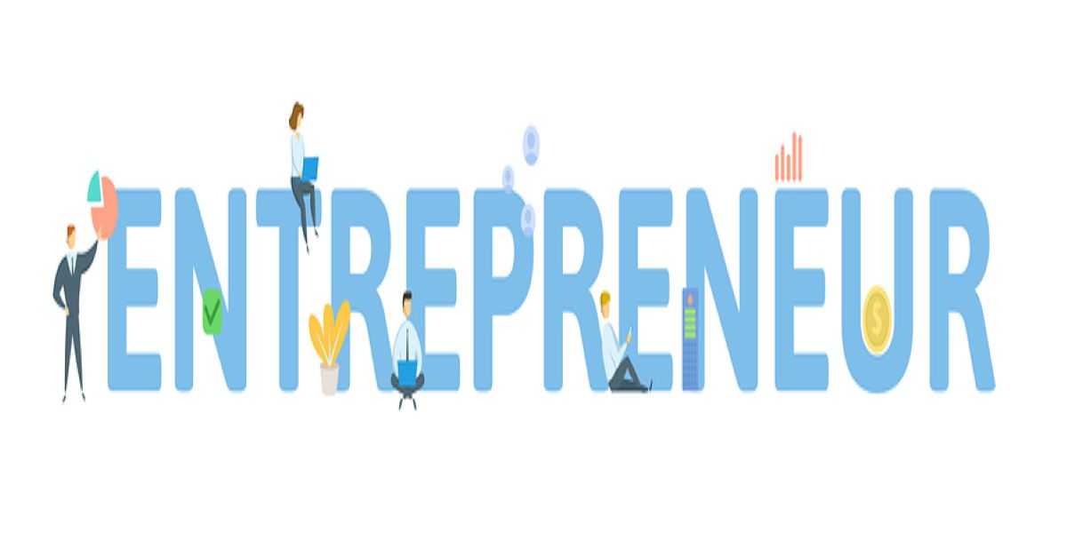 Vector image of the word entrepreneur, written in blue block capital letters. Illustrated with little business people and other business images, dotted around the letters.