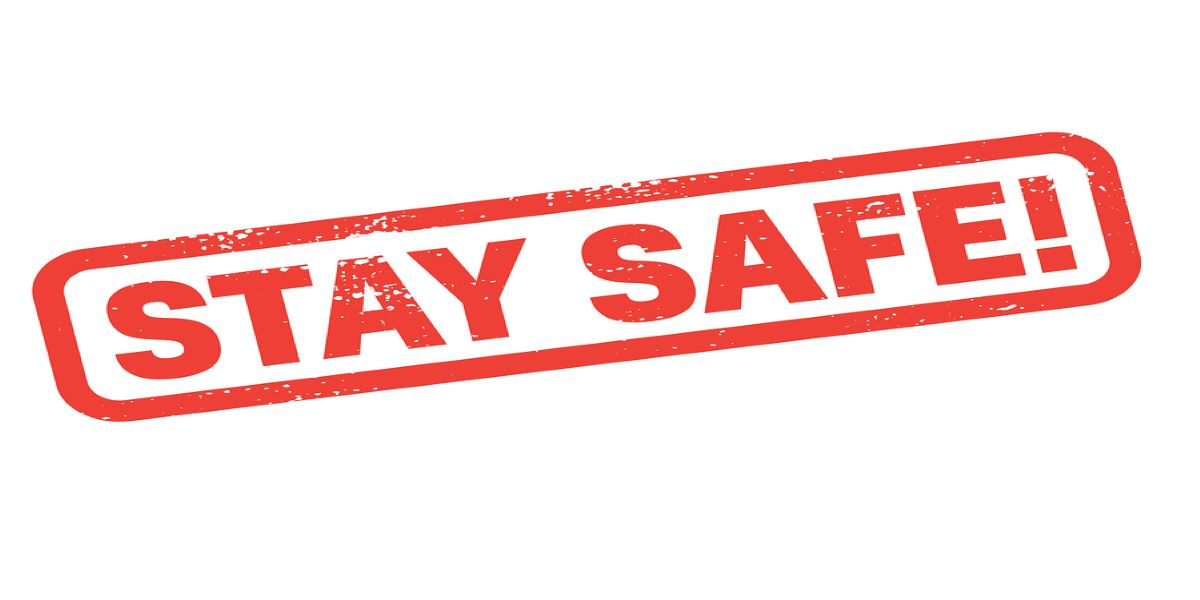 Red stay safe stamp on a white background.