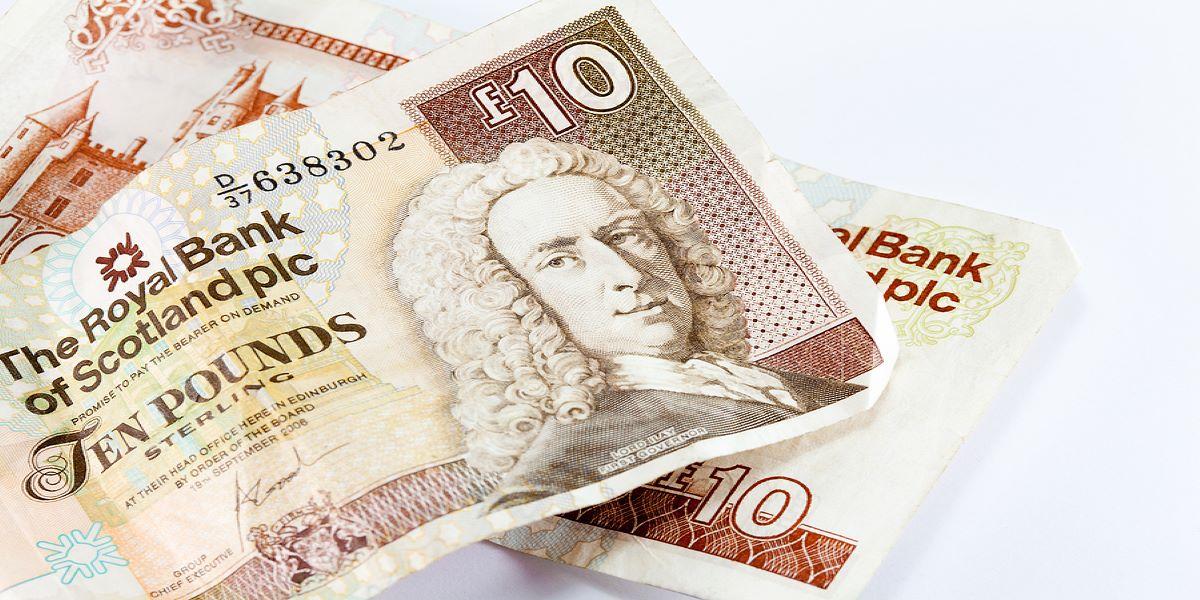 Two Scottish ten pound notes on a plain white background.