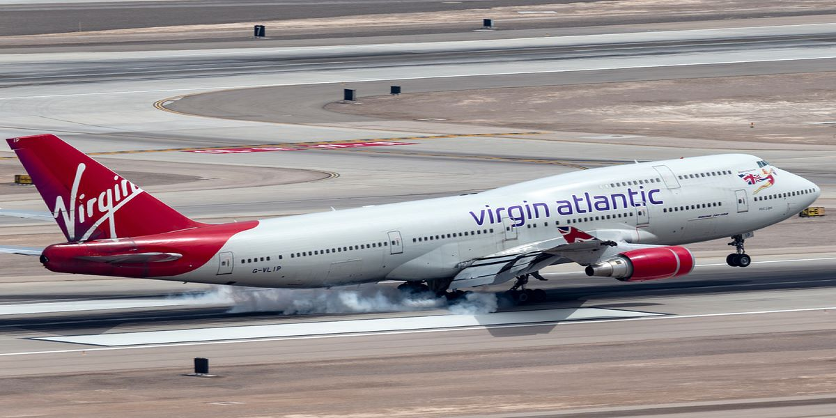 Photo of a Virgin Atlantic plane on the runway.
