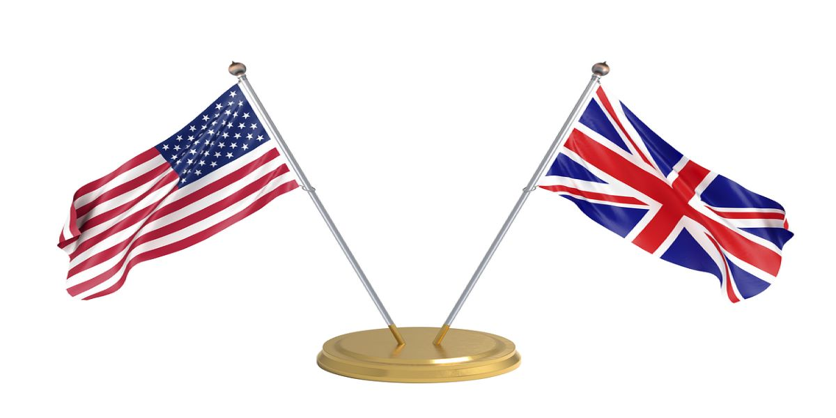 Gold, table top flag stand. American flag on the left, UK flag on the right.