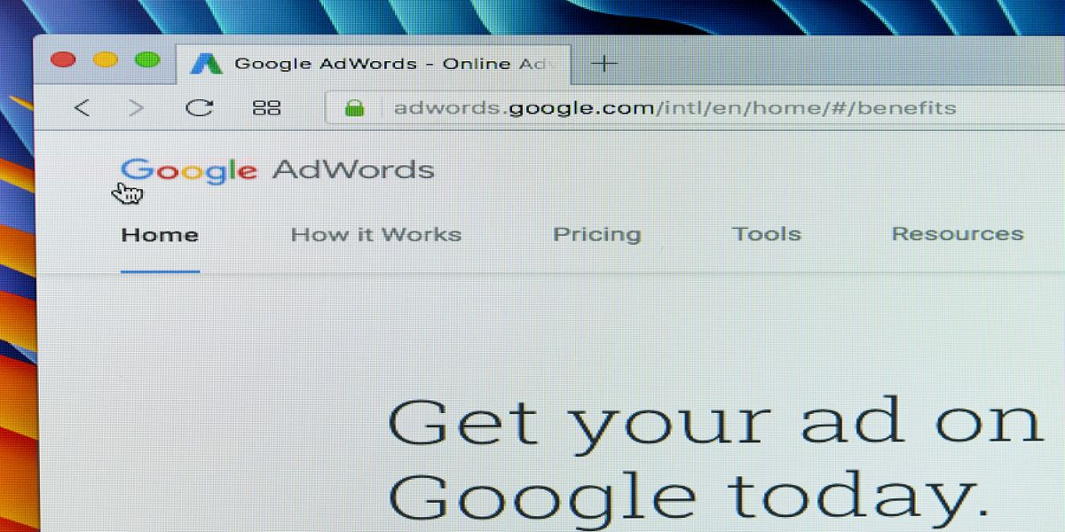 Photo of Google Adwords page as displayed on an iMac.