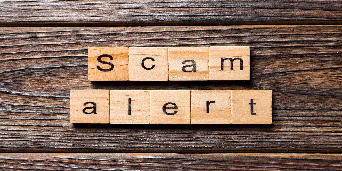 light wood, square letter tiles spelling scam alert, arranged on a dark wooden surface.