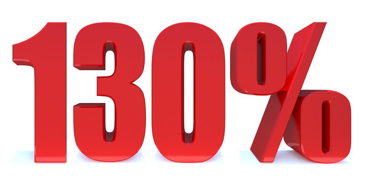 3D block red figures reading 130 per cent.