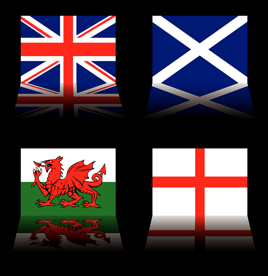 Flags of UK, Scotland, Wales and England on a black background.