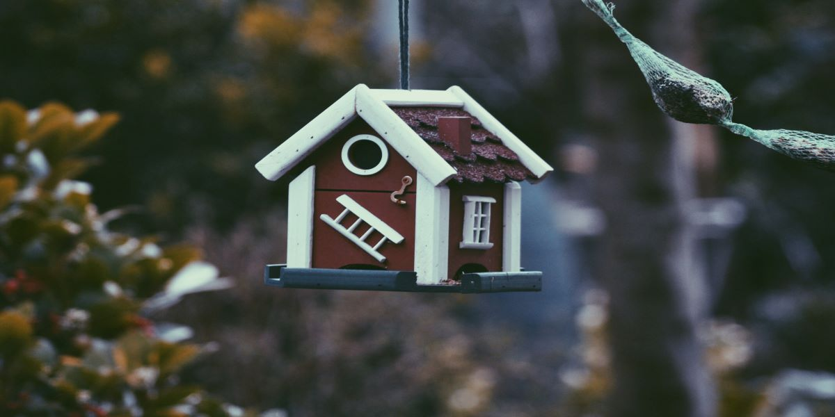 Wooden birdhouse with white painted trim hanging from a tree branch.